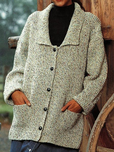 Button Down Lapel Collar Knitted Cardigan Plus Size Outerwear