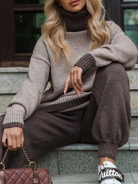 Plus Size Long Sleeve Plain Casual Sweater Suits