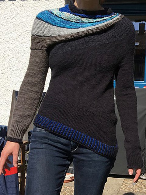 Black Long Sleeve Casual Paneled Sweater