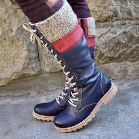 Hot Sale Winter Lacing High Boots Women Fashion Flat Heel Wool Shoe PU