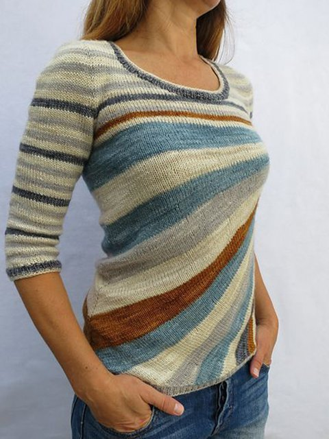 Color-Block Knitted Stripes 3/4 Sleeve Sweater