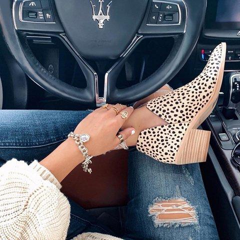 Leopard All Season Chunky Heel Slip On V-Cut Ankle Boots