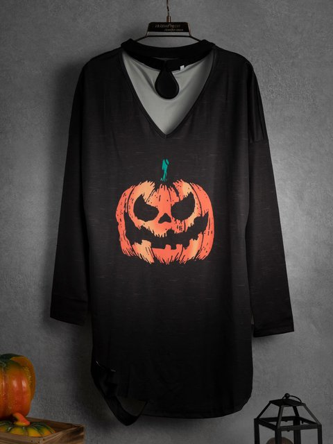 Loose Halloween Print Long Sleeve
