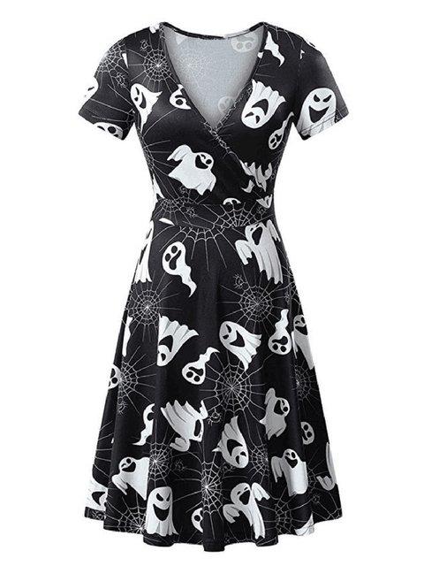Surplice Neck Women Dresses A-Line Casual Printed Halloween Dresses