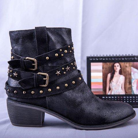 Women Chunky Heel Rivet Winter Ankle Boots