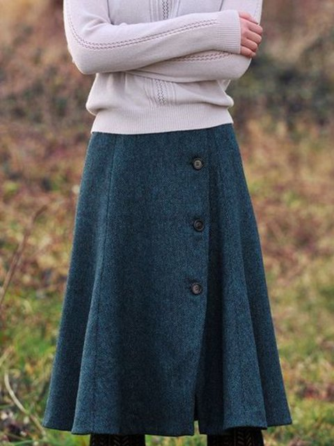 Casual Buttoned Skirts