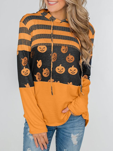 Orange Printed Casual Halloween Tops