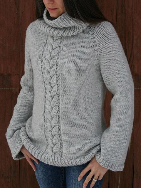Solid Sweater Plus Size Cowl Neck Knitted Tops