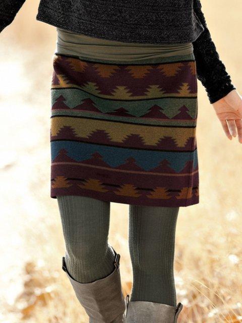 Floral-Print Tribal Vintage Skirts