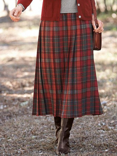 Vintage Floral-Print Checkered/plaid A-Line Skirts