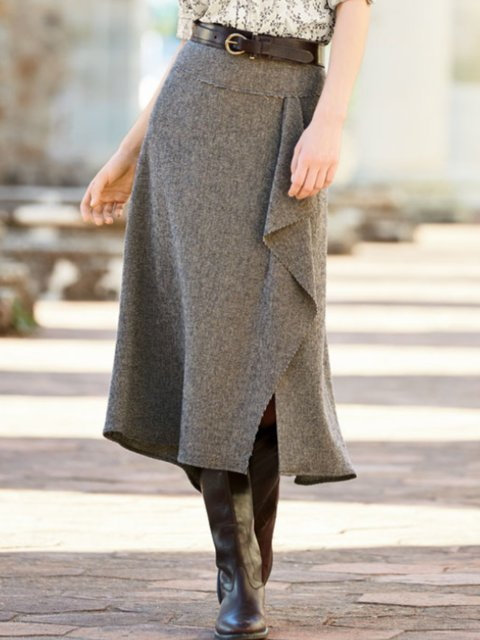 A-Line Casual Plain Skirts