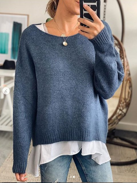 Cotton-Blend Casual Plain Sweater