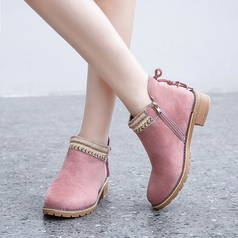 Women Round Toe Zipper Casual Chunky Heel Pu Ankle Boots