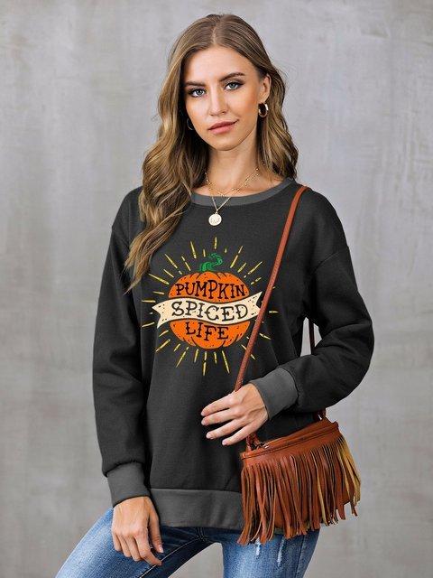 Graphic Paneled Shift Long Sleeve Sweatshirt
