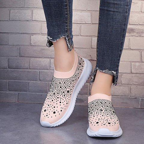 Women Round Toe Rhinestone Casual Mesh Fabric All Season Sneakers