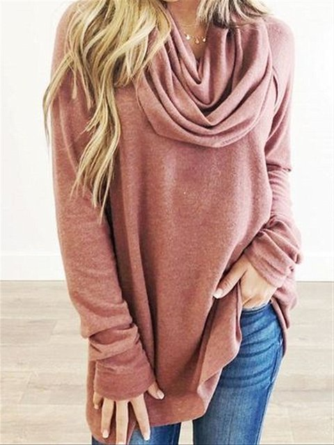 Casual Basic Daily Plus Size Cowl Neck Long Sleeve Cotton Top