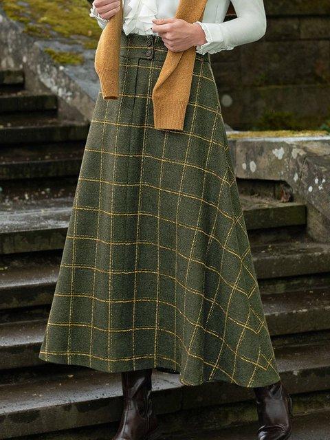 Cotton-Blend Casual Plaid Skirts