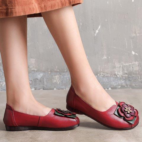 Women Slide Pu Flower Flat Heel Loafers Round Toe Casual Shoes