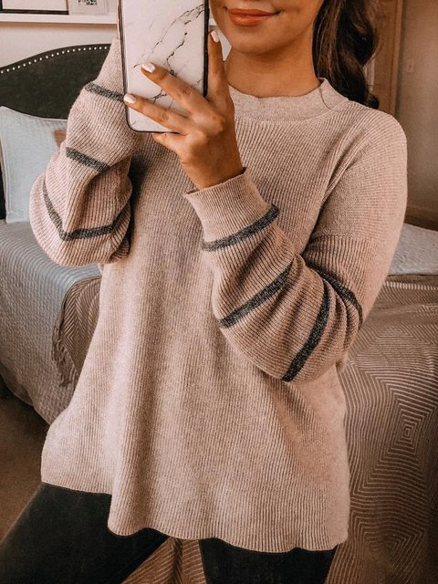 Casual Knitted Striped Long Sleeve Sweater