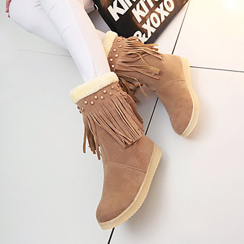 Women Tassel Flat Heel Pu Casual Boots