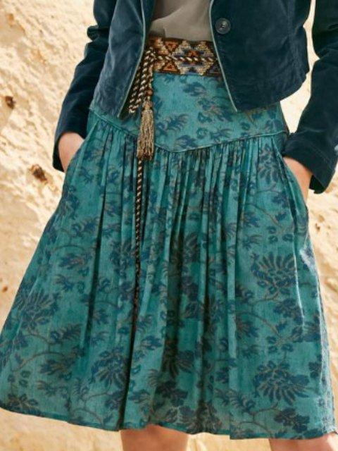 Casual Cotton-Blend Floral Skirts