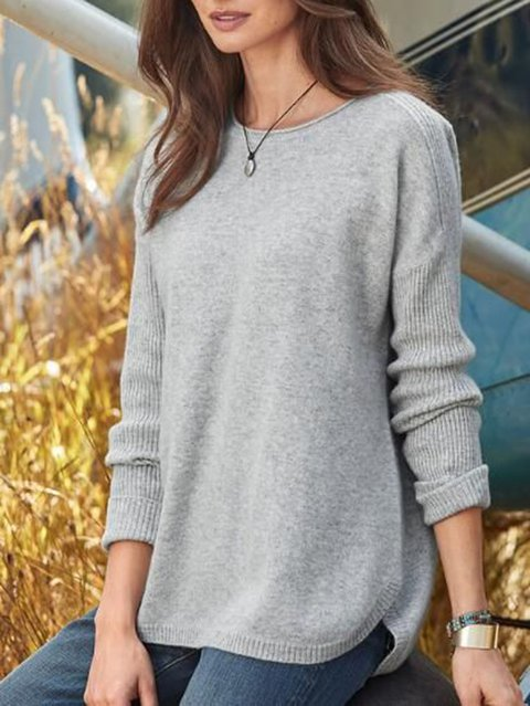 Knitted Round Neck Casual Sweater