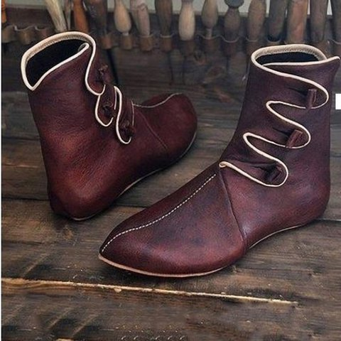 Button Flat Heel Pu All Season Mid-Calf Boots Casual Shoes
