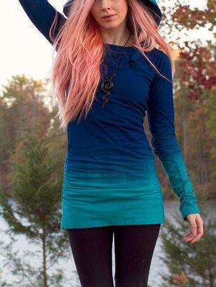 Long Sleeve Cotton-Blend Ombre/tie-Dye Hoodie Dresses