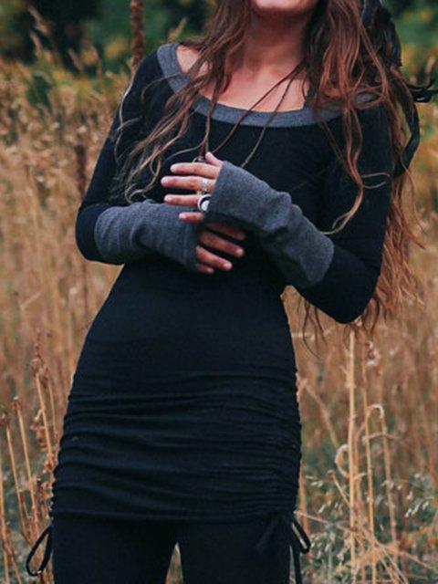 Black Vintage Cotton-Blend Plain Shirts & Tops