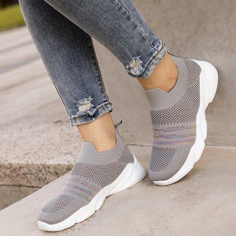 Daily Elastic Cloth Flat Heel Sneakers