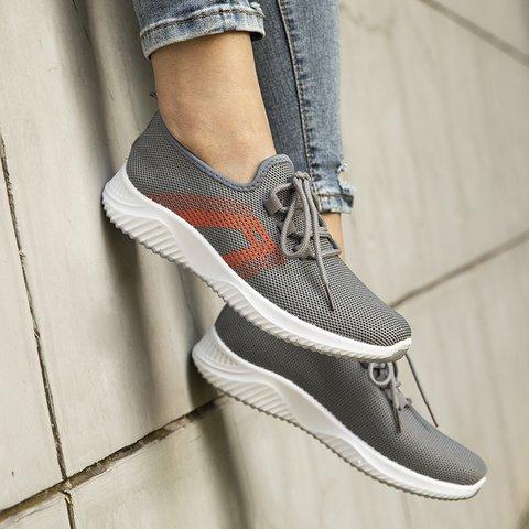 Women Flat Heel Elastic Cloth All Season Lace-Up Sneakers