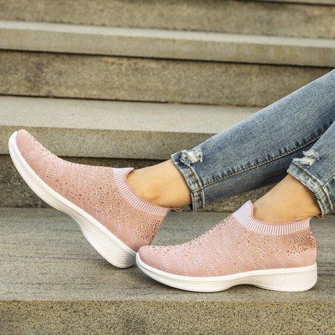 Women Rhinestone Elastic Cloth Sports All Season Sneakers