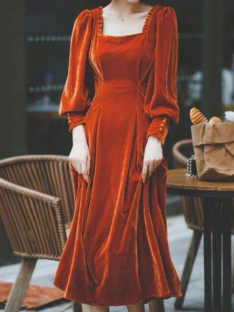 Casual Square Neck Velvet Dresses