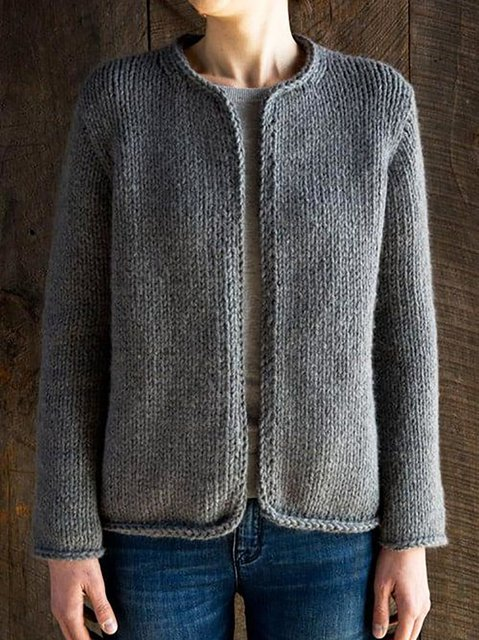 Knitted Plain Simple & Basic Outerwear