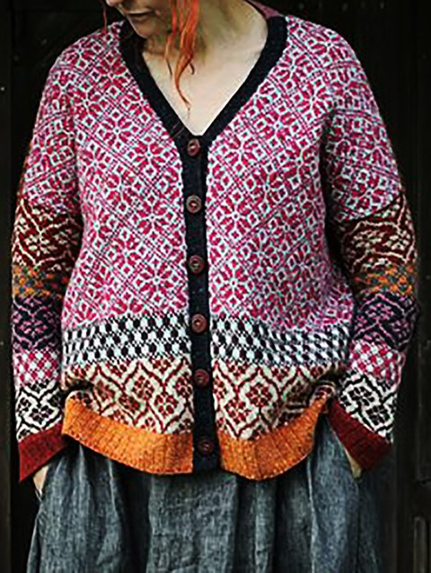 Vintage Shift Knitted Printed Outerwear