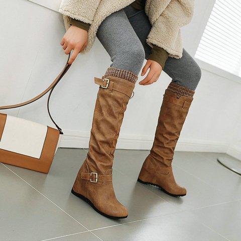 Wedge Heel Split Joint Casual Winter Long Boots