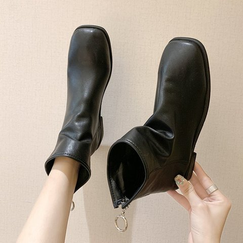Fall Zipper Low Heel Daily Ankle Boots