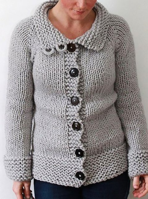 Shift Knitted Vintage Crew Neck Outerwear
