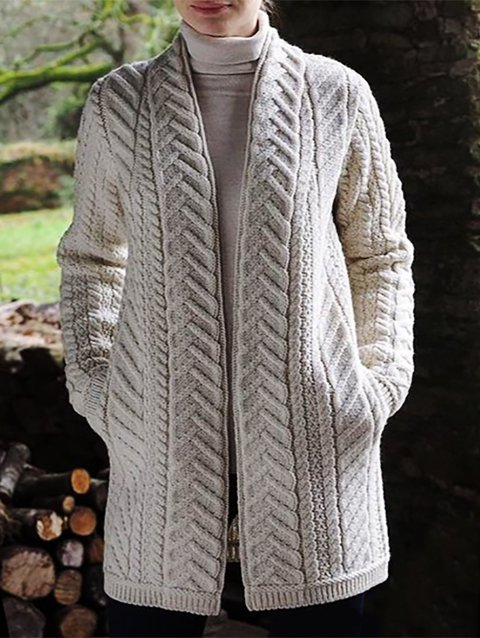 Shawl Collar Long Sleeve Plain Knitted Outerwear