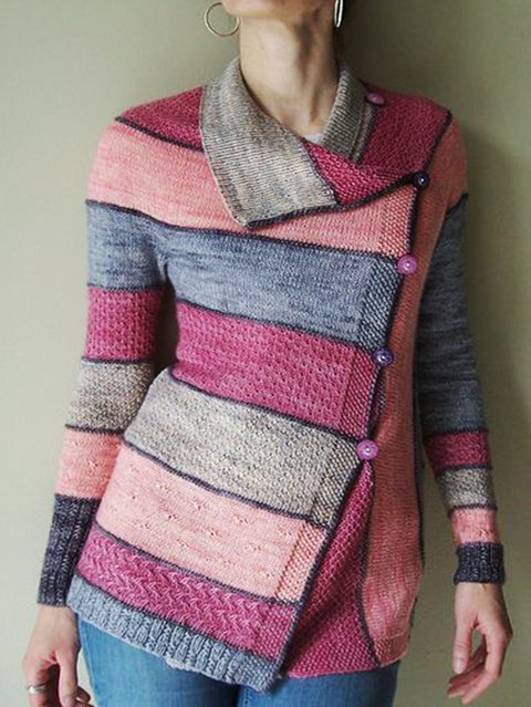 Shawl Collar Knitted Stripes Long Sleeve Outerwear