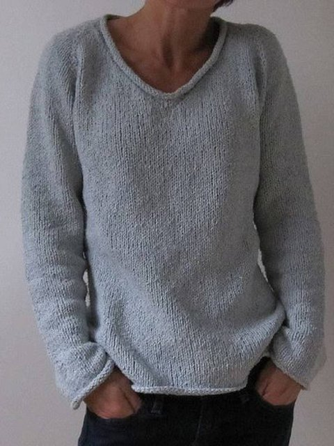 Round Neck Casual Solid Sweater