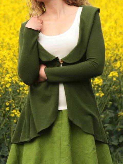 Army Green Casual Plain Cotton-Blend Outerwear
