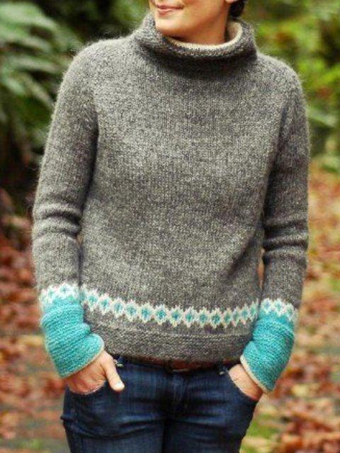 Ombre/tie-Dye Casual plus size Sweater