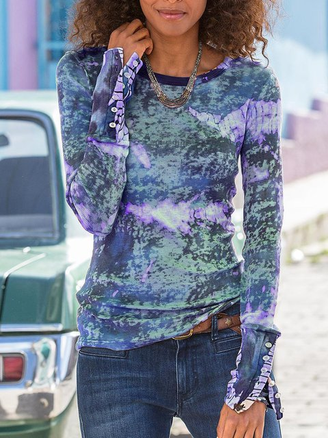 Round Neck Cotton Color-Block Casual Shirts & Tops