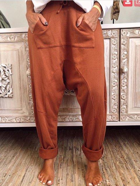 Casual Plain Drawstring Women All Season Pants