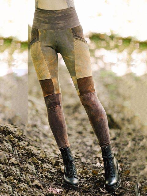 Khaki Plain Cotton-Blend Paneled Casual Pants