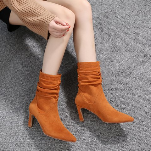 Suede Daily Stiletto Heel Solid Boots