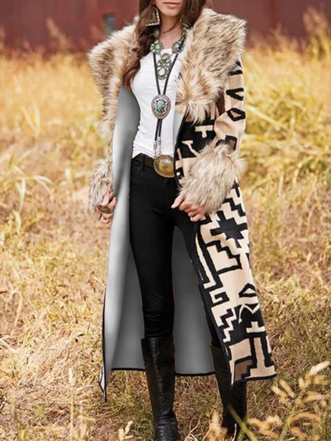 Multicolor Patchwork Shawl Collar Long Sleeve Outerwear