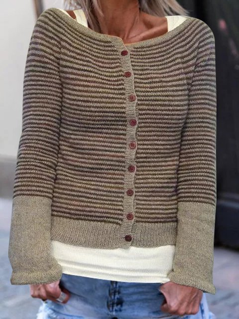 Women Striped Buttoned Stretchy Sweater Cardigans