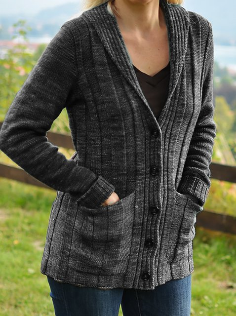 Knitted Long Sleeve Shift Outerwear